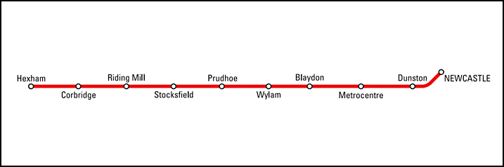 Hexham and Newcastle Off-Peak Map